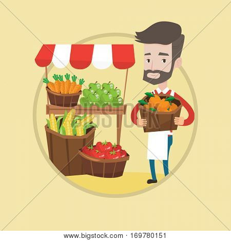 Young caucasian greengrocer standing near market stall. Hipster greengrocer with the beard holding basket with fruits. Vector flat design illustration in the circle isolated on background.