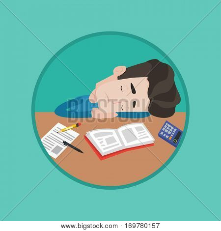 Fatigued student sleeping at the desk with books. Tired student sleeping after learning. Man sleeping among books at the table. Vector flat design illustration in the circle isolated on background.
