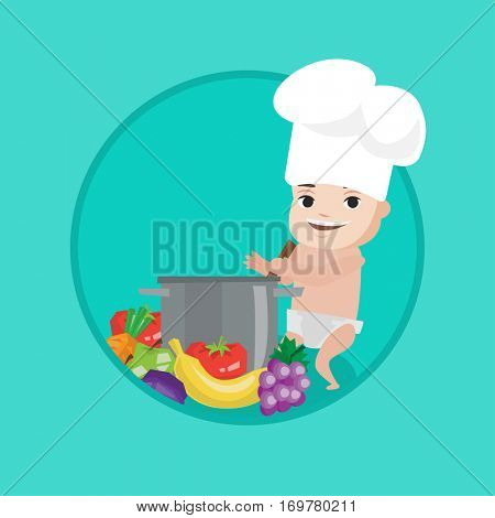 Baby boy in chef hat standing near big saucepan and vegetables. Baby boy playing with saucepan. Caucasian baby cooking in saucepan. Vector flat design illustration in the circle isolated on background