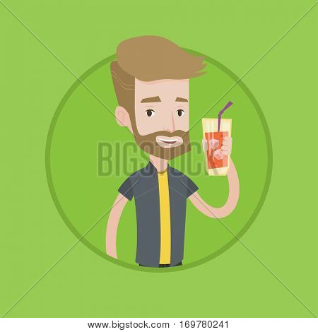 Hipster man holding cocktail glass with drinking straw. Joyful man drinking cocktail. Caucasian man celebrating with cocktail. Vector flat design illustration in the circle isolated on background.