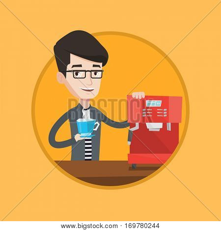 Caucasian man making beverage with a coffee-machine. Man holding cup of coffee in hand. Young man standing beside a coffee machine. Vector flat design illustration in the circle isolated on background