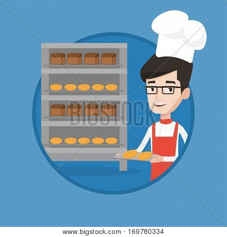 Caucasian baker holding tray of bread in the bakery. Happy baker standing near bread rack. Smiling baker holding baking tray. Vector flat design illustration in the circle isolated on background.