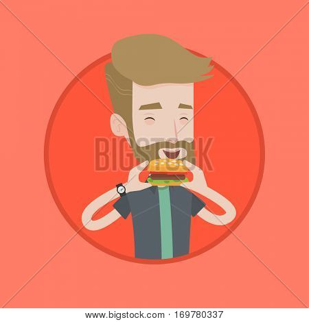 Hipster man eating hamburger. Happy man with eyes closed biting hamburger. Young smiling man is about to eat delicious hamburger. Vector flat design illustration in the circle isolated on background.