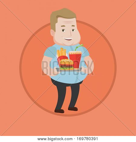 Caucasian fat man holding tray with fast food. Plump smiling man having lunch in a fast food restaurant. Happy man with fast food. Vector flat design illustration in the circle isolated on background.