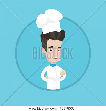 smiling chief cooker in uniform and hat standing with arms crossed. Young caucasian chef cooker. Confident male chief cooker. Vector flat design illustration in the circle isolated on background.