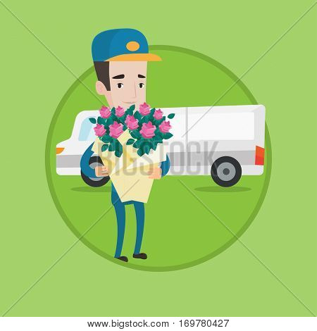 Young caucasian delivery courier with flowers standing on the background of delivery truck. Delivery courier delivering flowers. Vector flat design illustration in the circle isolated on background.