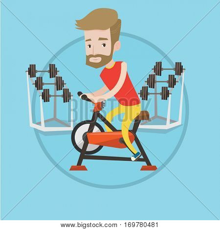 Man riding stationary bicycle in the gym. Sporty man exercising on stationary training bicycle. Man training on exercise bicycle. Vector flat design illustration in the circle isolated on background.