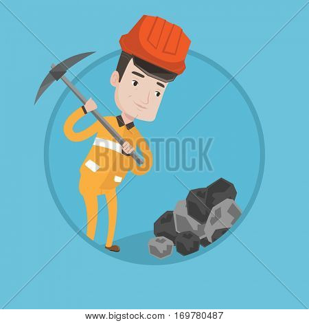Caucasian miner in hard hat working with a pickaxe. Miner working at the coal mine. Young miner at work. Vector flat design illustration in the circle isolated on background.