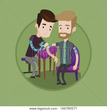 Caucasian tattooist makes tattoo on the hand of young hipster man. Tattooist makes a tattoo. Professional tattoo artist at work. Vector flat design illustration in the circle isolated on background.