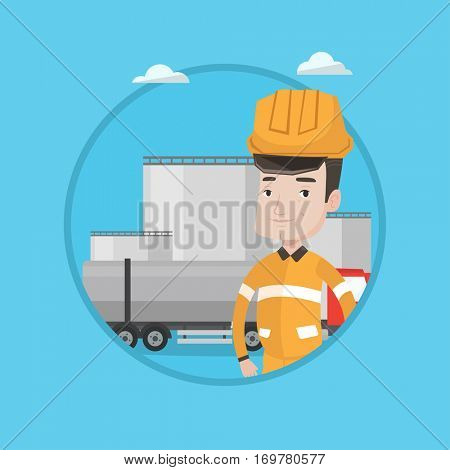 Caucasian worker of oil and gas industry. Confident refinery worker standing on background of fuel truck and oil refinery plant. Vector flat design illustration in the circle isolated on background.
