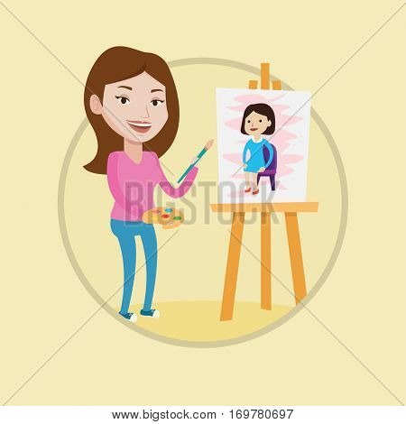 Young caucasian artist painting female model on canvas. Artist drawing painting on an easel. Woman working in workshop of artist. Vector flat design illustration in the circle isolated on background.
