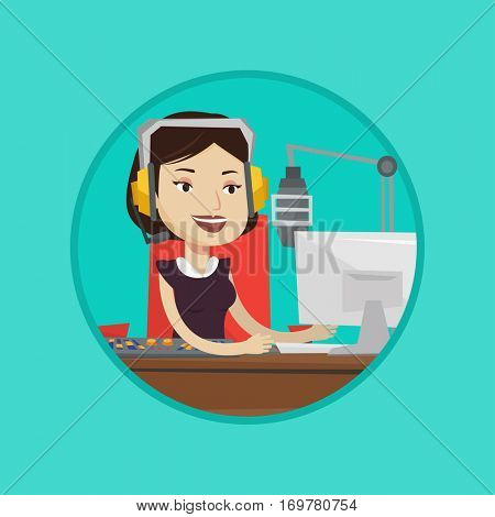 Caucasian radio dj working in front of microphone, computer and mixing console. Radio dj in headset working on a radio station. Vector flat design illustration in the circle isolated on background.