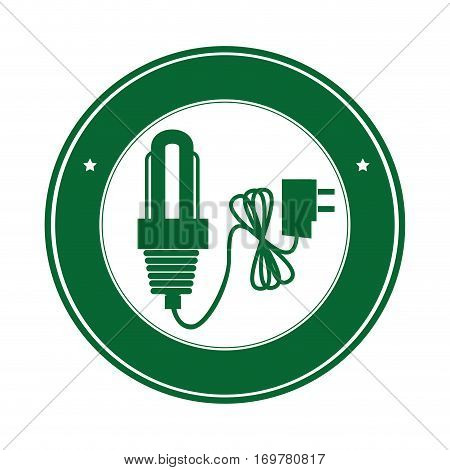 color circle silhouette with green light bulb icon with power cord vector illustration