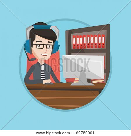 Young caucasian man using computer for playing games. Happy smiling gamer in headphones playing online games on a computer. Vector flat design illustration in the circle isolated on background.