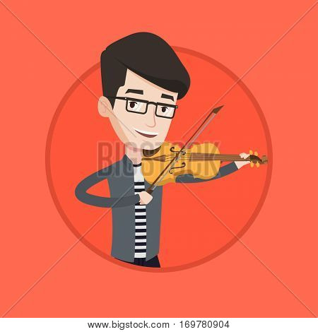 Young smiling musician playing violin. Cheerful violinist playing music on violin. Caucasian musician standing with violin. Vector flat design illustration in the circle isolated on background.