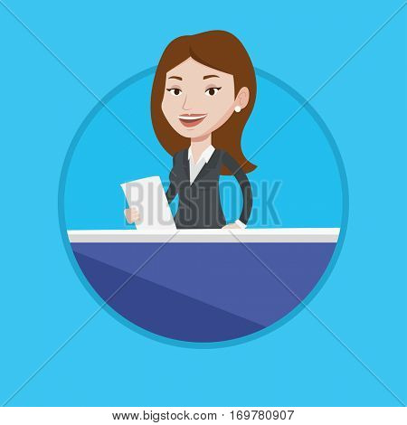 Television anchorwoman working at studio. Caucasian anchorwoman at studio during live broadcasting. Anchorwoman reporting tv news. Vector flat design illustration in the circle isolated on background.