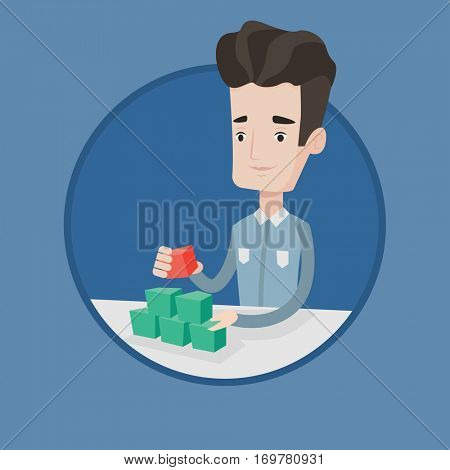 Young man making social network pyramid. Smiling caucasian man building his social network. Networking and communication concept. Vector flat design illustration in the circle isolated on background.