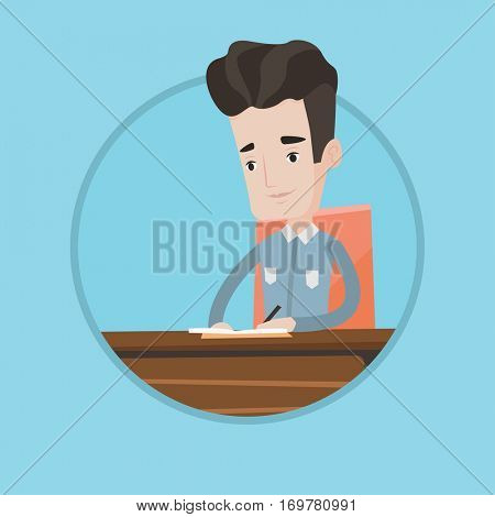 Journalist sitting at the table and writing in notebook. Journalist writing notes with pencil. Journalist working at the table. Vector flat design illustration in the circle isolated on background.