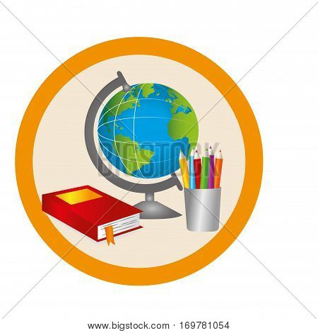 silhouette color with map world and book and pencils in circular frame vector illustration