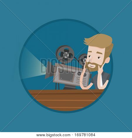 Man sitting near a film projector in the room projectionist. Caucasian projectionist showing new film. Young projectionist at work. Vector flat design illustration in the circle isolated on background