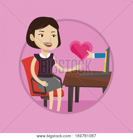 Woman using laptop for dating online. Caucasian woman looking for online date. Woman dating online and getting virtual love message.Vector flat design illustration in the circle isolated on background