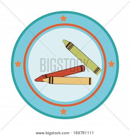 silhouette color with pencils in circular frame vector illustration