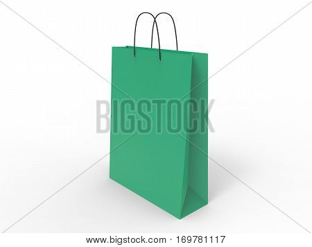 Classic green shopping bag, isolated. 3d illustration