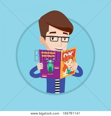 Caucasian man reading a magazine. Man standing with magazine in hands. Guy holding a magazine. Happy man reading news in journal. Vector flat design illustration in the circle isolated on background.