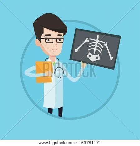 Caucasian doctor examining a radiograph. Young smiling doctor looking at chest radiograph. Doctor observing a skeleton radiograph. Vector flat design illustration in the circle isolated on background.