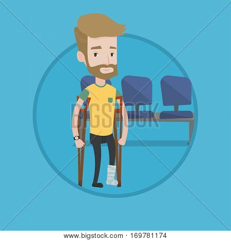 An injured hipster man with beard with leg in plaster. Caucasian man with broken leg using crutches. Young man with fractured leg. Vector flat design illustration in the circle isolated on background.