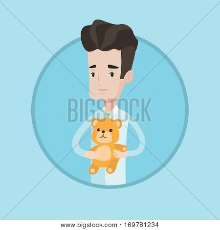 Young caucasian male pediatrician doctor holding a teddy bear. Professional pediatrician doctor standing with a teddy bear. Vector flat design illustration in the circle isolated on background.