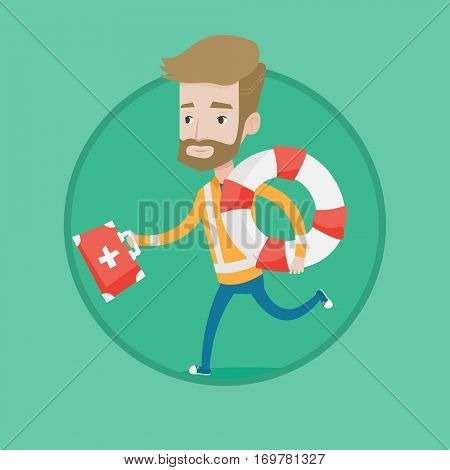 Hipster caucasian paramedic running with first aid box. Young paramedic running to patients. Paramedic running with lifebuoy. Vector flat design illustration in the circle isolated on background.