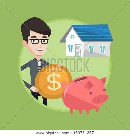 Caucasian house owner putting dollar coin in piggy bank on the background of house. Cheerful man investing money in real estate. Vector flat design illustration in the circle isolated on background.