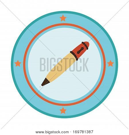 silhouette color with pen in circular frame vector illustration