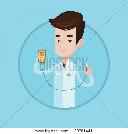 Young caucasian doctor holding smartphone with application for measuring heart rate pulse. Doctor showing app for checking heart. Vector flat design illustration in the circle isolated on background.