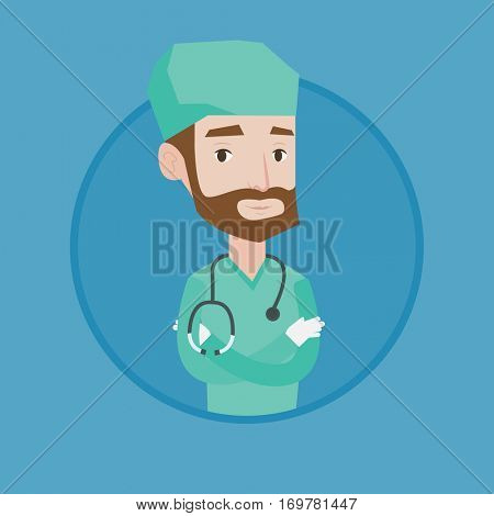 Hipster surgeon standing with arms crossed. Caucasian confident surgeon in medical uniform. Surgeon with stethoscope on his neck. Vector flat design illustration in the circle isolated on background.
