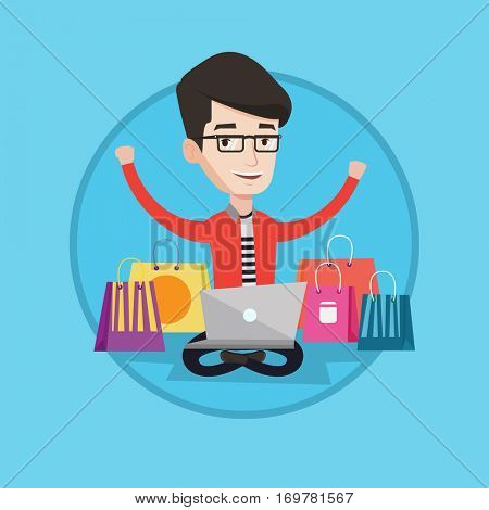 Young caucasian man using laptop for shopping online. Happy man sitting with shopping bags around him. Man doing online shopping. Vector flat design illustration in the circle isolated on background.