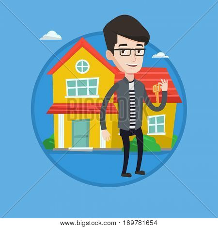 Real estate agent holding key. Smiling real estate agent with keys standing on the background of house. Happy new owner of a house. Vector flat design illustration in the circle isolated on background