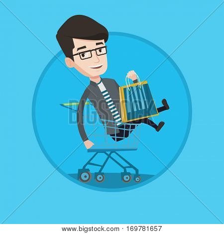 Customer having fun while riding by shopping trolley. Cheerful caucasian man with shopping bags sitting in shopping trolley. Vector flat design illustration in the circle isolated on background.