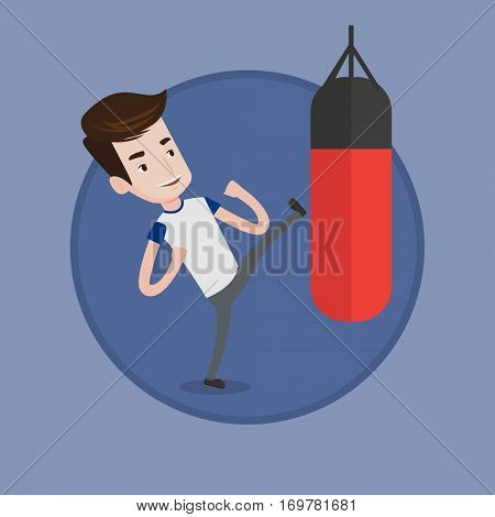 Caucasian boxer man exercising with punching bag. Boxer hitting punching bag during training. Boxer training with punching bag. Vector flat design illustration in the circle isolated on background.