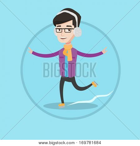 Happy man ice skating. Young caucasian smiling sportsman ice skating. Cheerful man at skating rink. Vector flat design illustration in the circle isolated on background.
