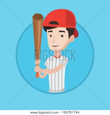 Young smiling baseball player in uniform. Professional baseball player standing with a bat. Cheerful baseball player in action. Vector flat design illustration in the circle isolated on background.