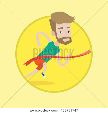 Cheerful winner crossing finish line. Young caucasian smiling winner winning marathon. Hipster winner with beard breaking the tape. Vector flat design illustration in the circle isolated on background