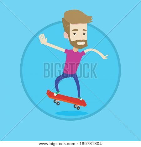 Hipster man riding a skateboard. Happy caucasian man skateboarding. Young skater riding a skateboard. Man jumping with skateboard. Vector flat design illustration in the circle isolated on background.