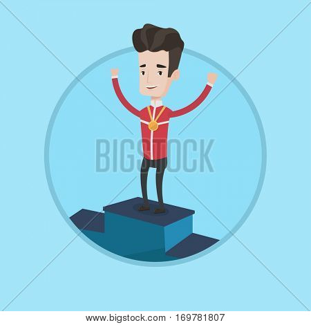 Sportsman celebrating on the winners podium. Young caucasian man with gold medal standing on the winners podium. Winner concept. Vector flat design illustration in the circle isolated on background.