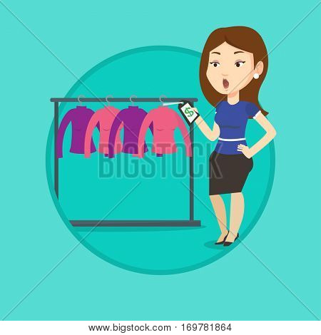Woman shocked by price tag in clothing store. Surprized woman looking at price tag in clothing store. Woman staring at price tag. Vector flat design illustration in the circle isolated on background.