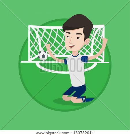 Caucasian football player celebrating scoring goal. Young football player kneeling on the background of football gate with ball. Vector flat design illustration in the circle isolated on background.