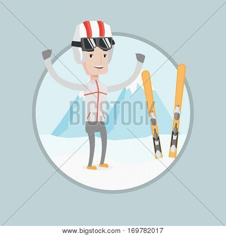 Caucasian skier standing with skis on the background of mountain. Young man skiing. Skier resting in mountains during sunny day. Vector flat design illustration in the circle isolated on background.
