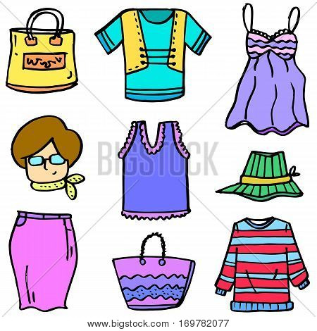 Vector art of clothes set women doodles collection stock