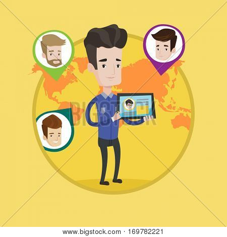 Man holding tablet computer with social network user profile. Man social networking on tablet computer. Social network concept. Vector flat design illustration in the circle isolated on background.